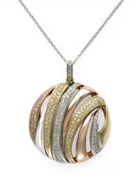 Effy | Metallic Diamond And 14k White, Yellow And Rose Gold Pendant Necklace, 0.71 Tcw | Lyst