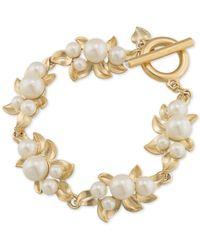 Carolee | Metallic Gold-tone Faux Pearl Cluster Bracelet | Lyst