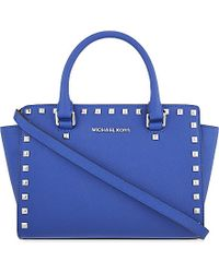 MICHAEL Michael Kors | Blue Selma Medium Studded Leather Satchel | Lyst