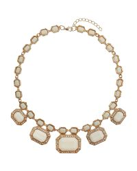 Mikey - White Rectangle Enamels Chain Linked Necklace - Lyst