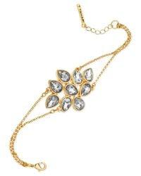 T Tahari - Metallic 14K Gold-Plated Crystal Cluster Bracelet - Lyst