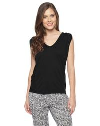 Splendid - Black Light Jersey Pleat Tank - Lyst