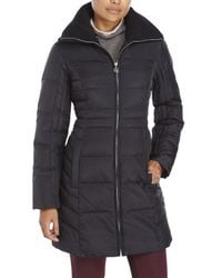 Anne Klein | Black Knit Collar Down Coat | Lyst