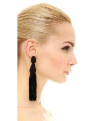 Oscar de la Renta - Black Two-tiered Short Tassel Earring - Lyst