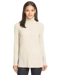 Lafayette 148 New York | Natural Ribbed Cashmere Turtleneck Sweater | Lyst