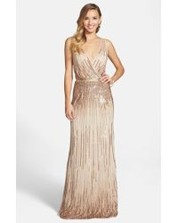 Adrianna Papell | Metallic Beaded Surplice Gown | Lyst