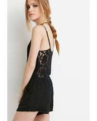Forever 21 | Black Floral Lace Cami Romper | Lyst