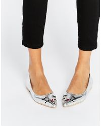 ASOS | Metallic Lucky Mouse Face Pointed Ballet Flats | Lyst