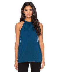 Bella Luxx | Blue Shirred Double Layer Tank | Lyst