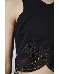 TOPSHOP - Black Pretty Lace Trim Crop Top - Lyst