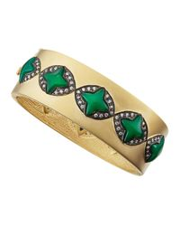 Freida Rothman | Green Cz Clover Station Bangle Bracelet | Lyst