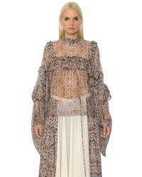 Veronique Branquinho | Multicolor Floral Printed Silk Georgette Shirt | Lyst