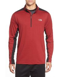 The North Face | Red 'kilowatt' Quarter Zip Training Pullover for Men | Lyst
