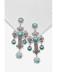 Nasty Gal | Blue Cross My Mind Embossed Earrings | Lyst