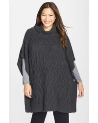 Caslon - Gray Cowl Neck Cable Knit Sweater Cape - Lyst