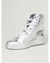 Giuseppe Zanotti - Metallic Hi-top Sneakers for Men - Lyst