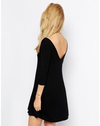 ASOS | Black Skater Dress With V Front And V Back | Lyst
