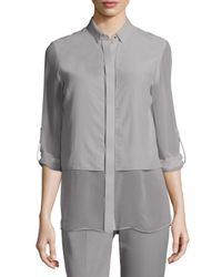 Elie Tahari | Metallic Ava Long-sleeve Chiffon Blouse | Lyst