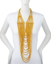 Devon Leigh | Metallic Beaded Multi-strand Long Necklace | Lyst