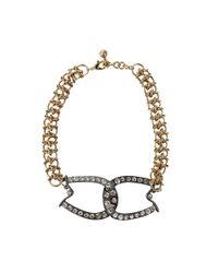 Lulu Frost | Metallic Brass Glass Stone Horseshoe Necklace | Lyst