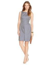 Lauren by Ralph Lauren | Blue Metallic Jacquard Dress | Lyst