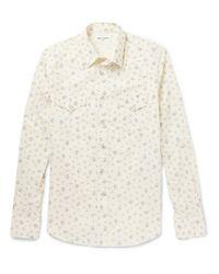Saint Laurent | White Floral-Print Cotton Shirt for Men | Lyst