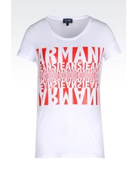 Armani Jeans - Red T-Shirt In Stretch Cotton Jersey With Logo Pattern - Lyst