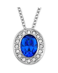 Swarovski - Blue Rhodiumplated Sapphire Crystal Pendant Necklace - Lyst