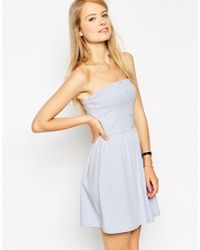 ASOS - Blue Bandeau Sundress With Button Detail - Lyst