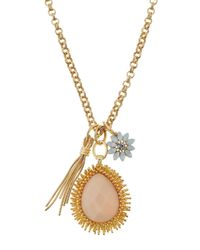 R.j. Graziano | Pink Long Golden Charm Necklace | Lyst