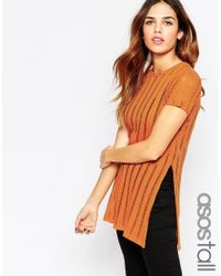 ASOS | Orange Tall Tunic With Split Sides In Laddered Fabric | Lyst
