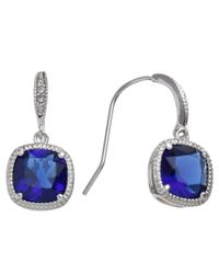 Carolee | Blue Sapphire Glass Cushion Drop Earrings | Lyst