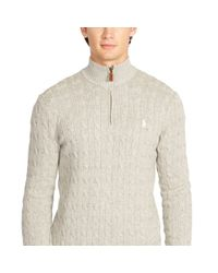 Polo Ralph Lauren - Gray Cabled Tussah Silk Sweater for Men - Lyst