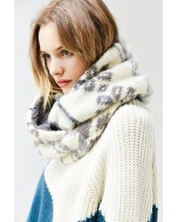 Urban Outfitters - Gray Brushed Plush Lined Eternity Scarf - Lyst