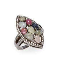 Bavna | 0.42 Tcw Diamond, Multicolor Sapphire & Sterling Silver Ring | Lyst