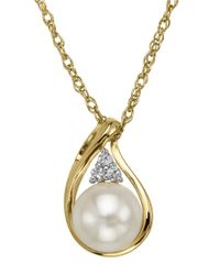 Lord & Taylor | 14 Kt. Yellow Gold Fresh Water Pearl And White Topaz Pendant | Lyst