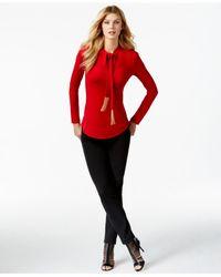 Michael Kors | Red Michael Tasseled Tie-neck Top | Lyst