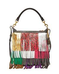 Saint Laurent | Black Women's Leather Fringed Hobo Bag In Multicolour | Lyst