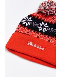 Urban Outfitters - Red Budweiser Beanie for Men - Lyst