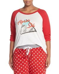 Pj Salvage - Red Cotton & Modal Baseball Tee - Lyst