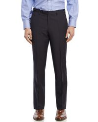 BOSS - Blue Tonal Check Flat Front Wool Dress Pants for Men - Lyst