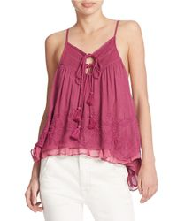 Free People | Pink Keyhole Tank Top | Lyst