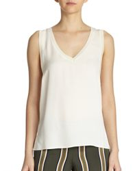 Theory | White Silk V-Neck Tank | Lyst