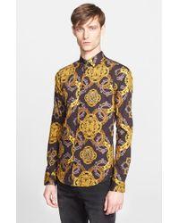 Versace Jeans - Black Trim Fit Baroque Print Sport Shirt for Men - Lyst