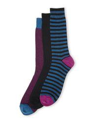 Cole Haan - Black 3-Pack Sailor Striped Crew Socks for Men - Lyst