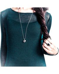 Becky Dockree Jewellery | Metallic Silver Double Gem Etched Dome Necklace | Lyst