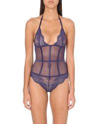 Implicite - Blue Paradoxe Floral-lace Bodysuit - For Women - Lyst