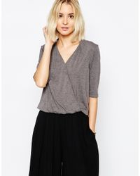 Paisie - Gray Wrap Top With Half Sleeve - Lyst