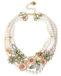 Betsey Johnson - Metallic Gold-Tone Flower Frontal Faux-Pearl Necklace - Lyst
