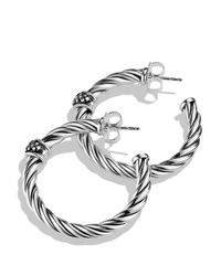 David Yurman - Metallic Cable Classics Hoop Earrings With Diamonds - Lyst